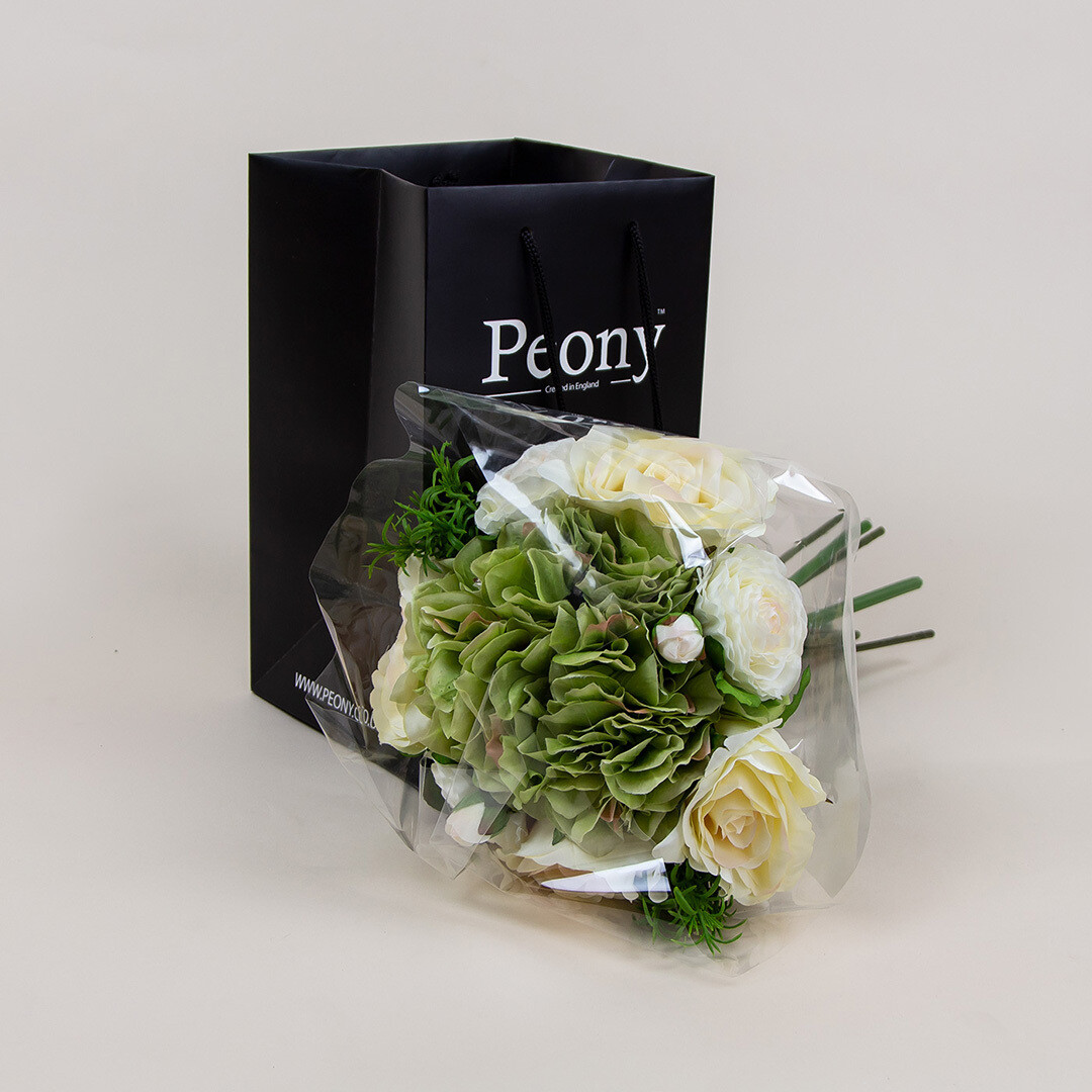 Hydrangea, Rose and Ranuncula Bouquet with Gift Bag