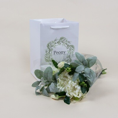 Chrysanthemum, Hellebore, Lambs Leaf and Berry Bouquet with Gift Bag