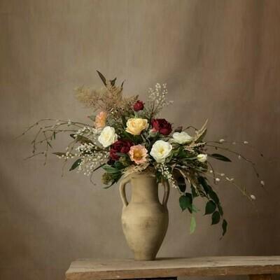 Peony, Rose & Foliage Terracotta Urn