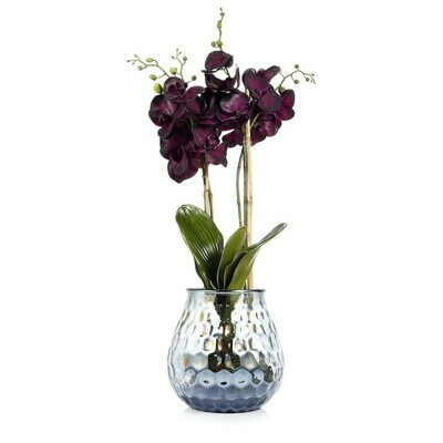 Real Touch Phalaenopsis Orchid in Coral Textured Vase - Purple