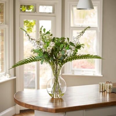 Foxglove, Waxflower & Foliage in Coastal Vase