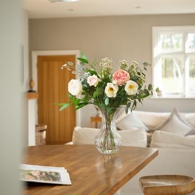 Rose, Waxflower & Foliage Mix in Dorchester Vase