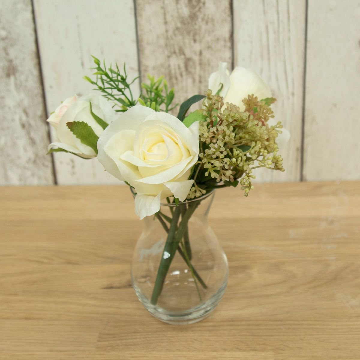 Artificial Roses and Foliage in a Pristina vase- Cream/Green
