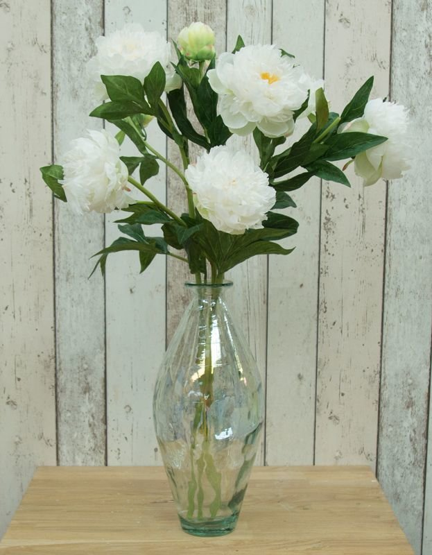 Artificial peonies in a recycled lustre vase - cream