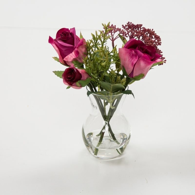 Artificial Roses, Skimmia and Thyme in a pristinia vase- Pink