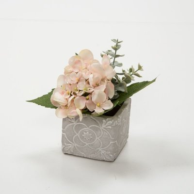 Artificial Hydrangea & Foliage in a cement cube- Pink