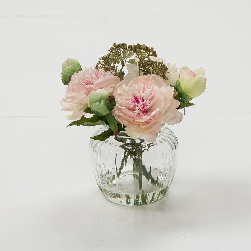Artificial Peonies & Patrinia in an optic vase- Pink