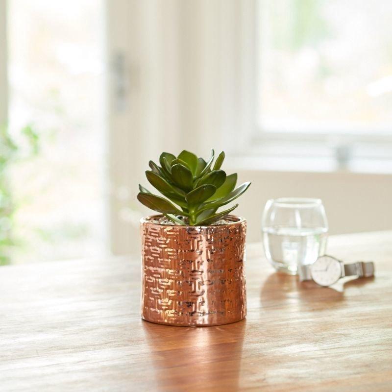 Artificial succulent in a round copper pot- Green