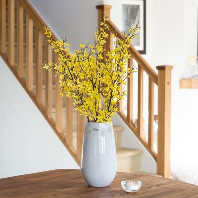 FORSYTHIA IN TALL SCRATCHED POT