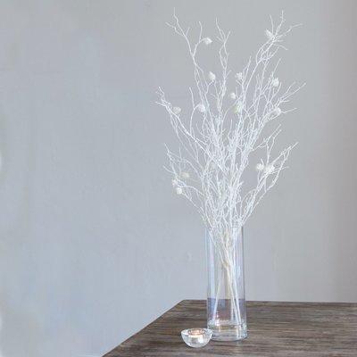 Glow in the Dark Pine Cone Stems in Lustre Vase - White