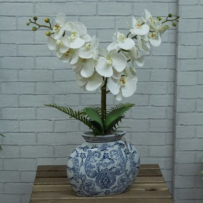 Artificial Phalaenopsis Orchid in a blue and white pot- White