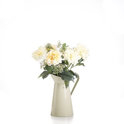 Artificial Dahlias & Achillea in a large green metal jug- Yellow