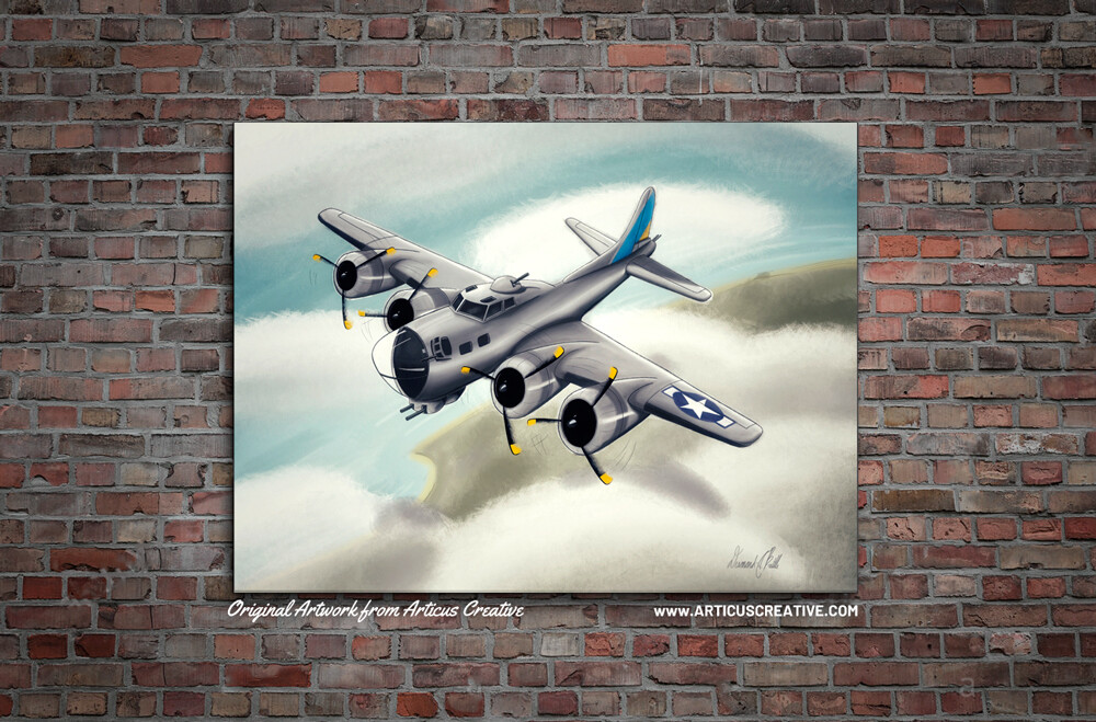 "B-17 Flying Fortress (WWII Era): 16""x20"" Canvas"