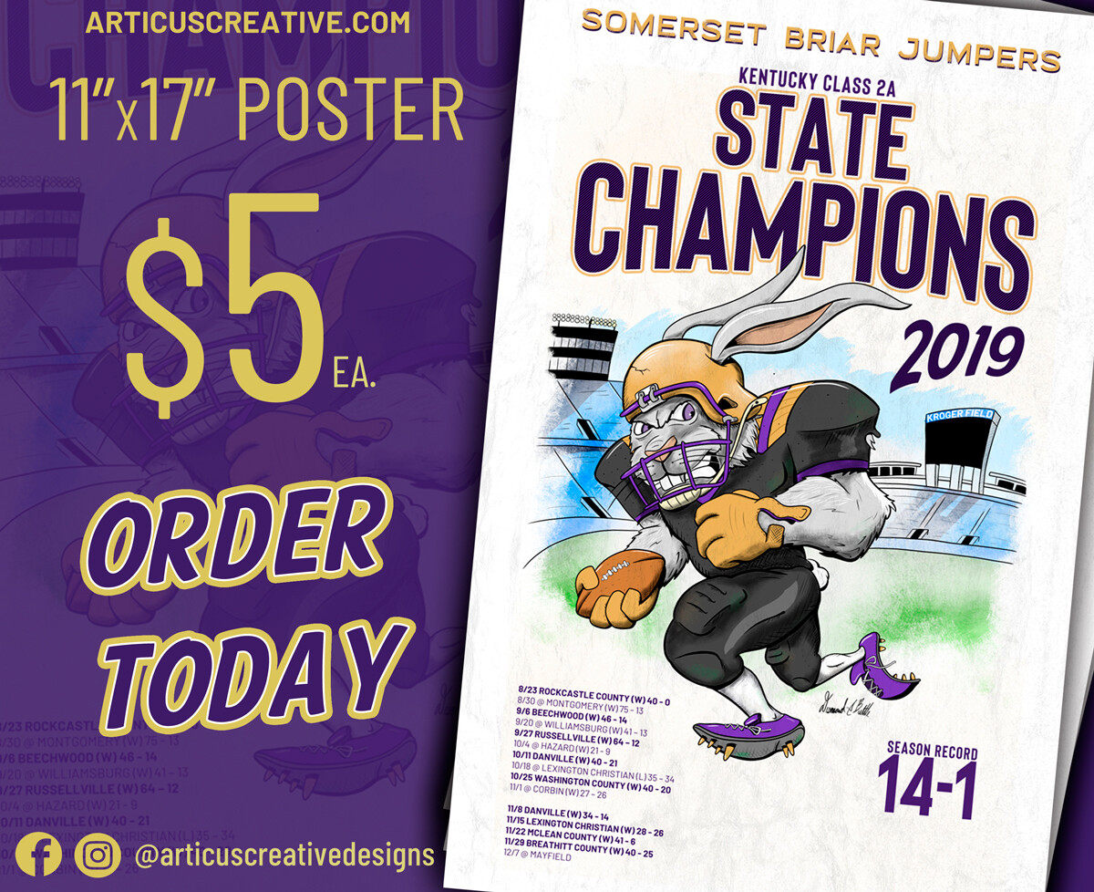 """Somerset Briar Jumper: 2019 State Champs 11""""x17"""" Poster"""