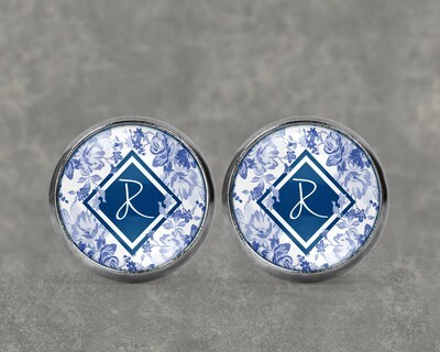 Initial Blue Floral Earrings