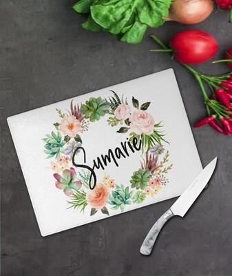 Floral Wreath Glass Chopping Board