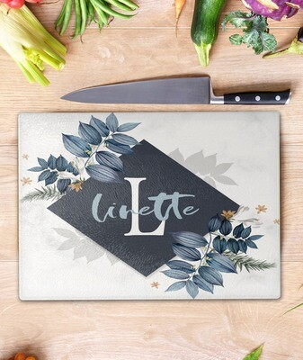 Blue Floral Glass Chopping Board
