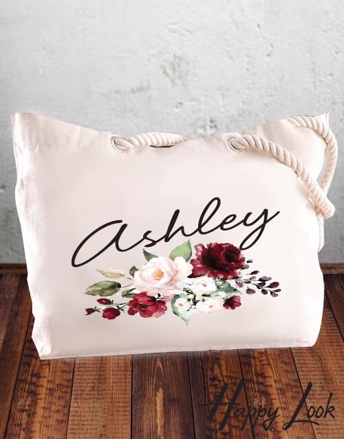 Burgundy Bridesmaid Tote Bag