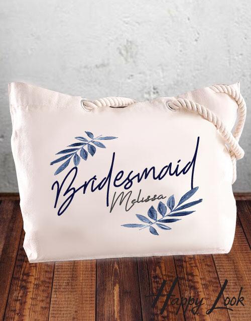 Navy Bridesmaid Tote Bag