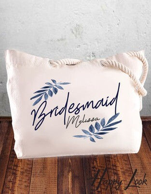 Navy Bridesmaid Tote Bag