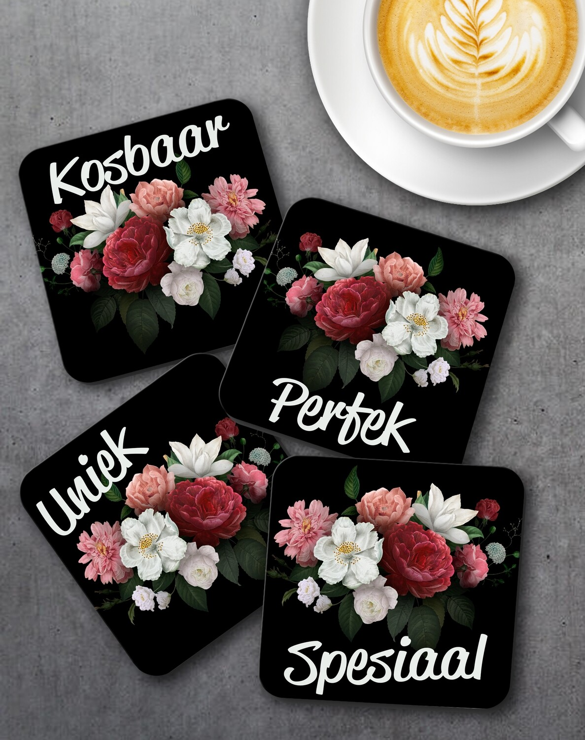 Burgundy Floral Coaster Set (4)