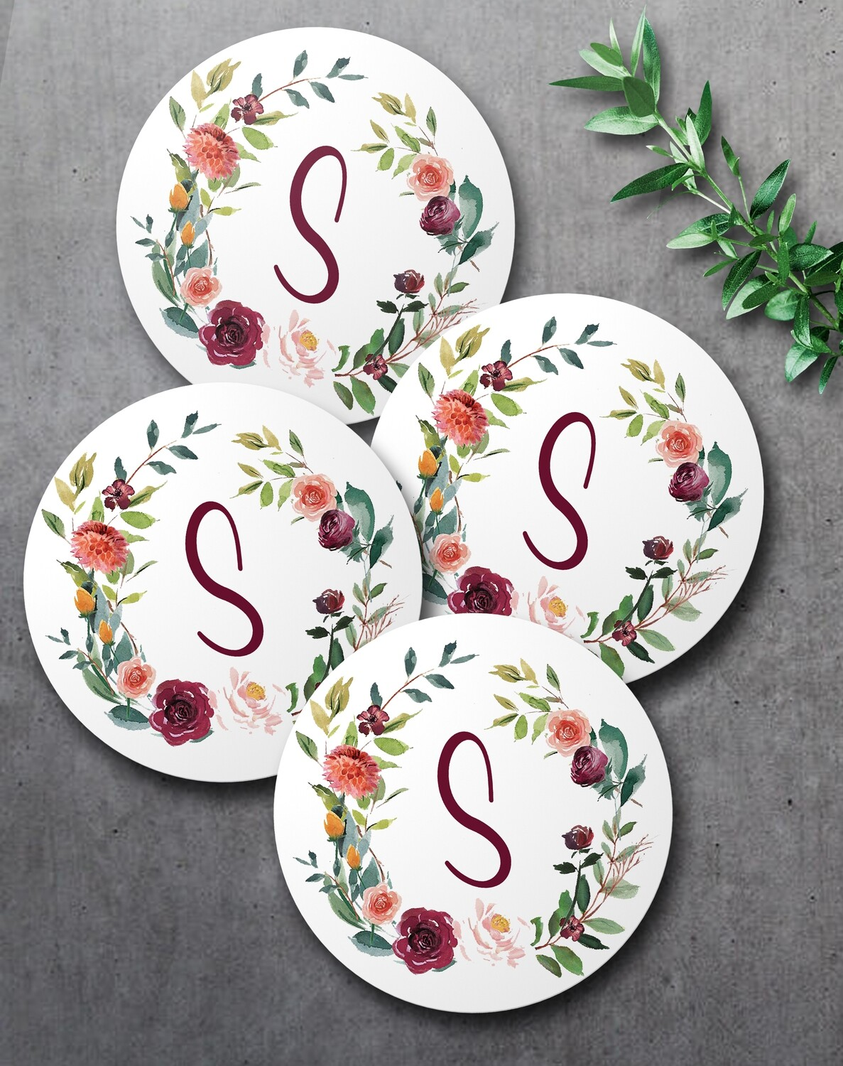 Floral Wreath Coaster Set (4)