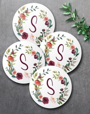 Floral Wreath Coaster Set (4)