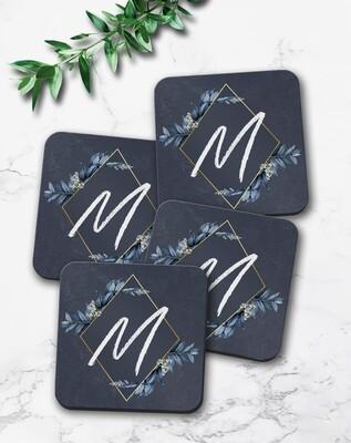 Blue Floral Frame Coaster Set (4)