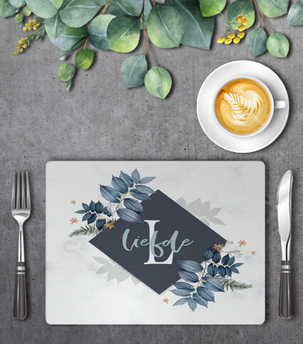 Blue Floral Frame Placemat Set (4)
