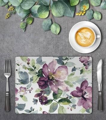 Mauve Floral Pattern Placemat Set (4)