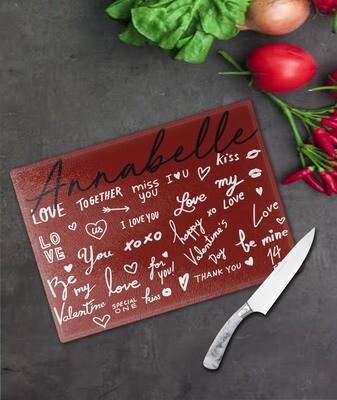 Love Words Glass Chopping Board