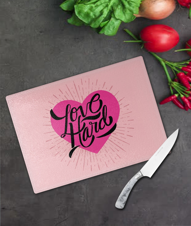 Love Hard Glass Chopping Board