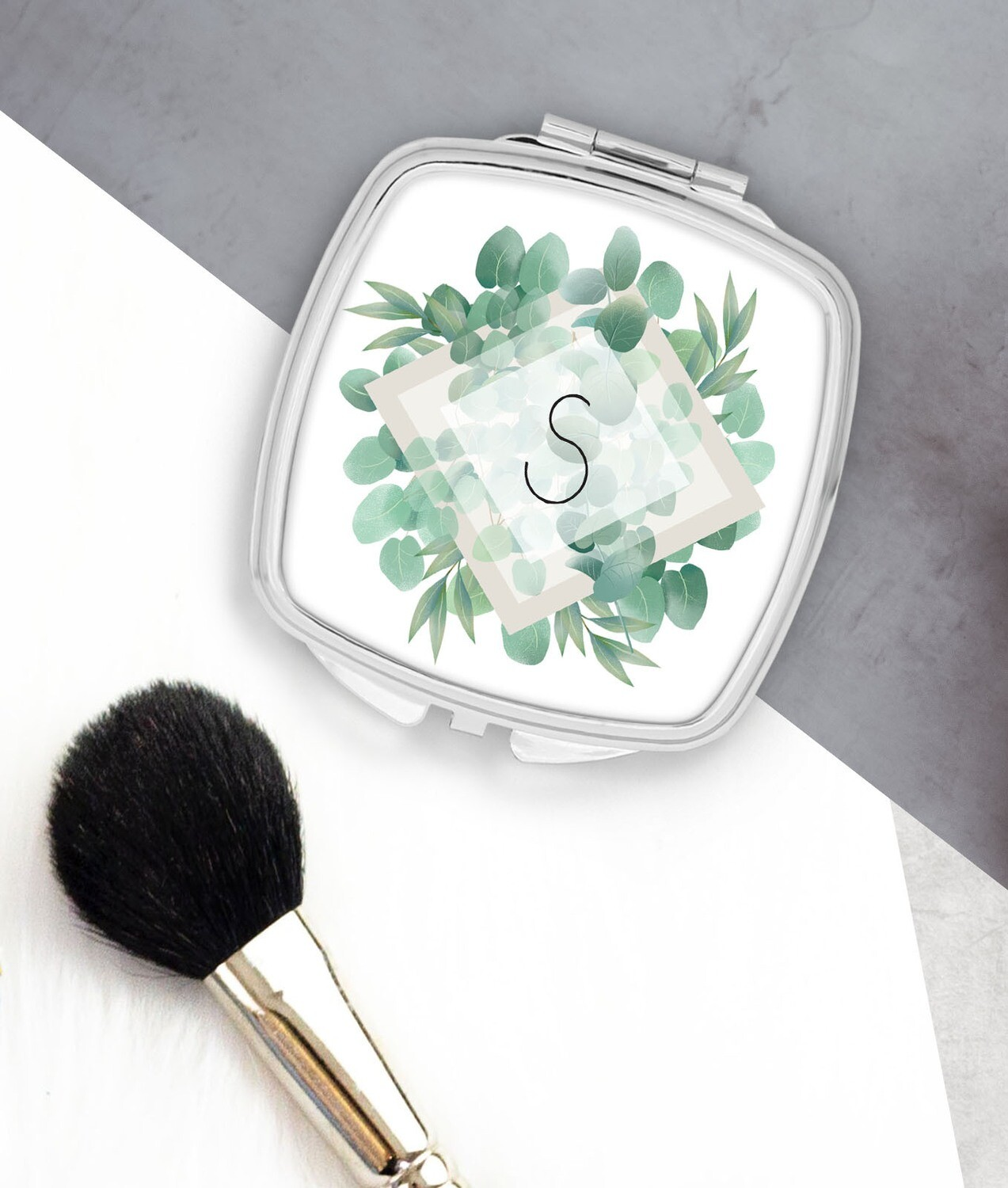 Personalized Eucalyptus Pocket Mirror