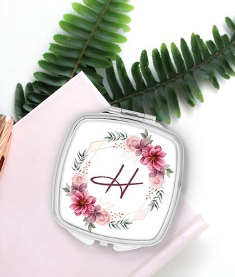 Personalized Pink Wreath Pocket Mirror
