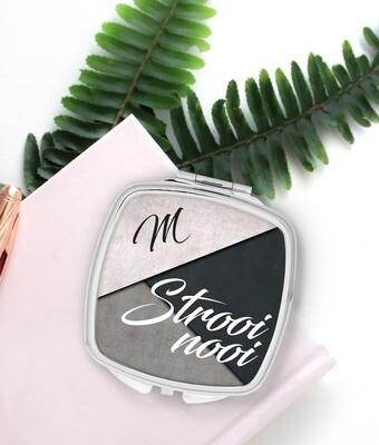 Personalized Modern Grey Pocket Mirror
