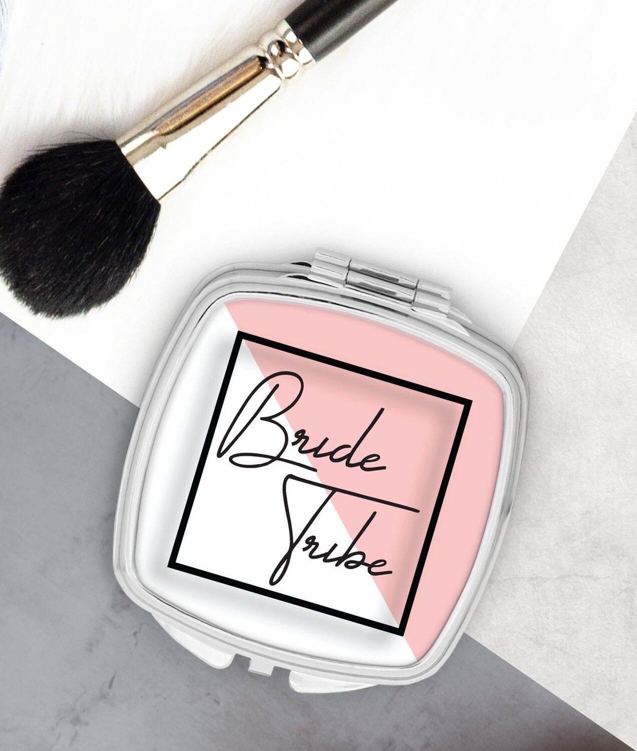 Personalized Pink Modern Pocket Mirror