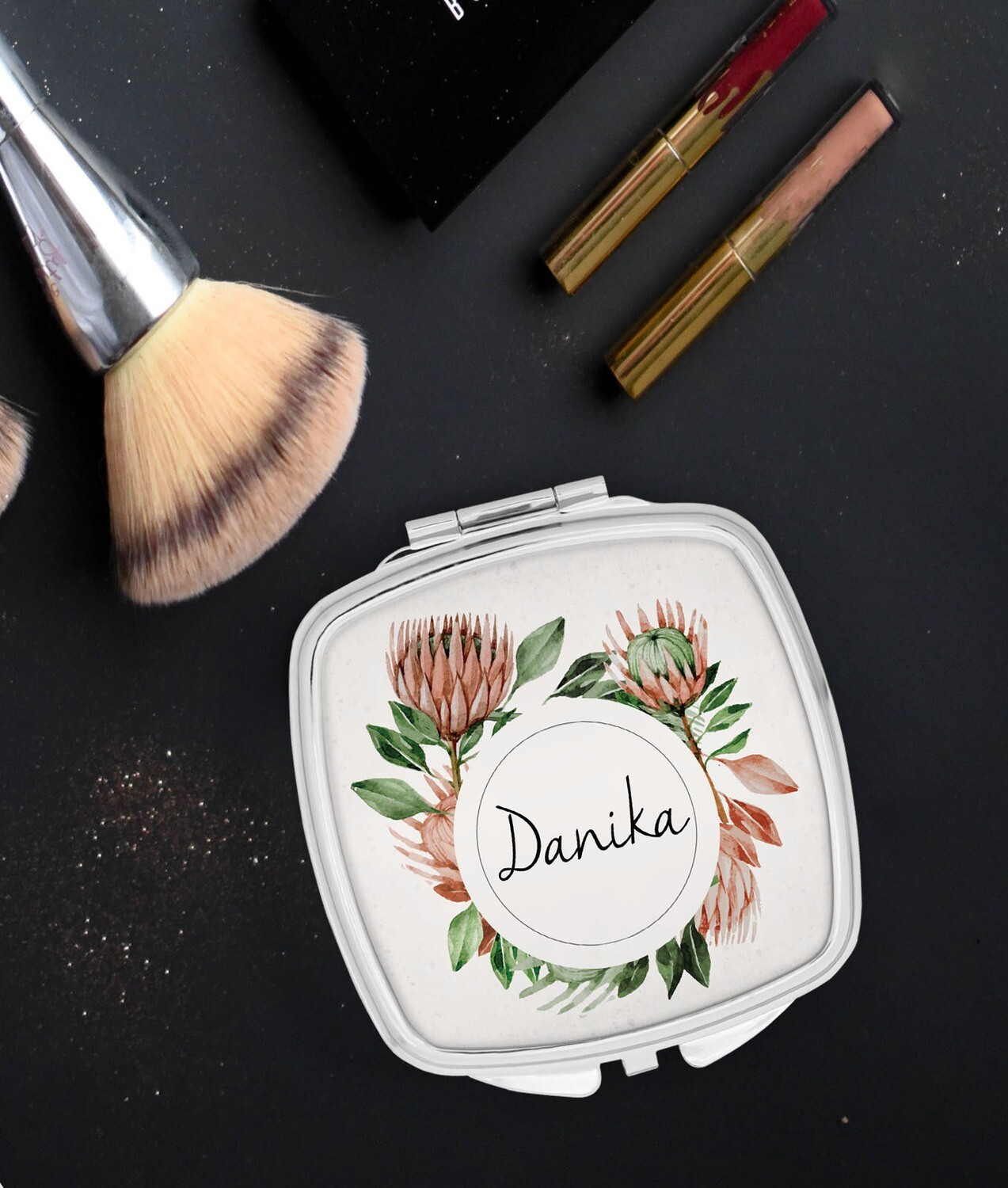 Personalized Protea Pocket Mirror