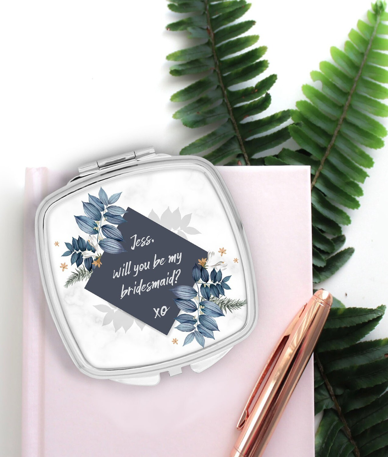 Personalized Blue Pocket Mirror