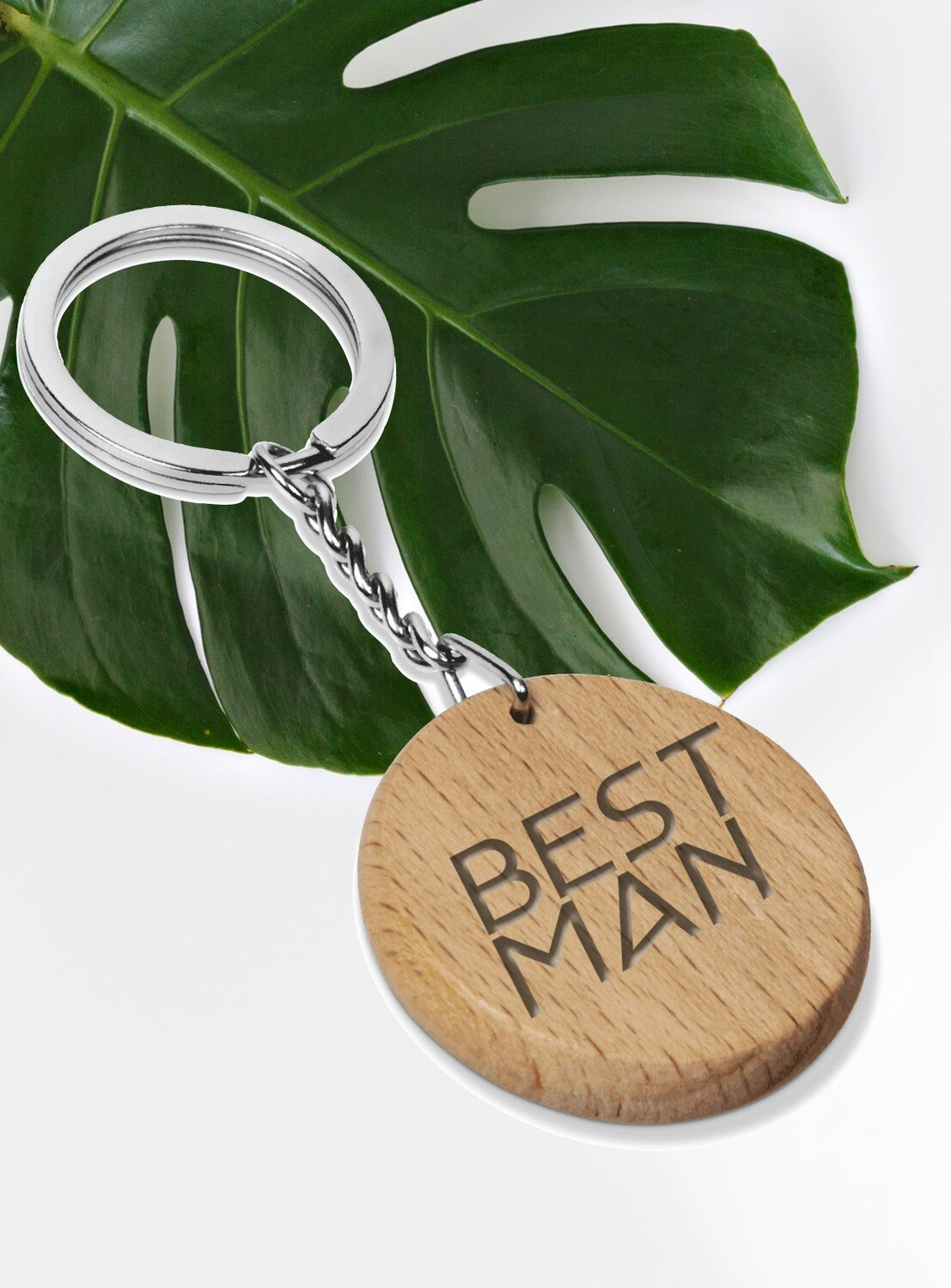 Personalized Round Wood Keyring