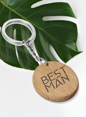 Personalized Round Wood Keyring