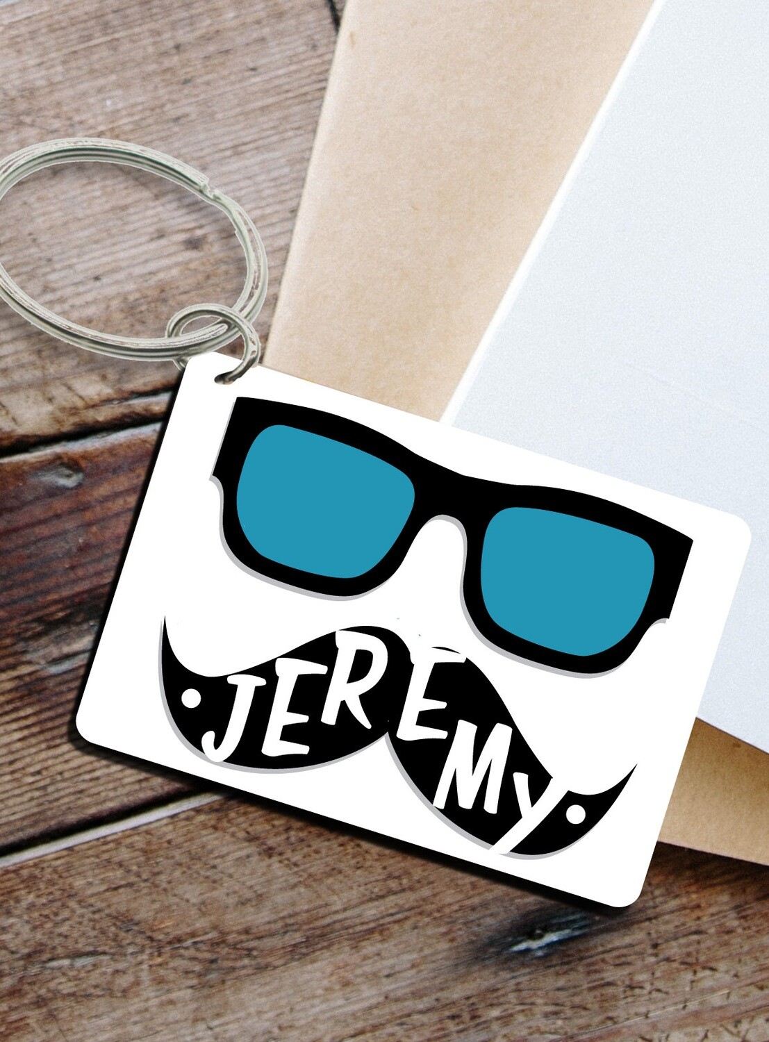 Personalized Hipster Keyring