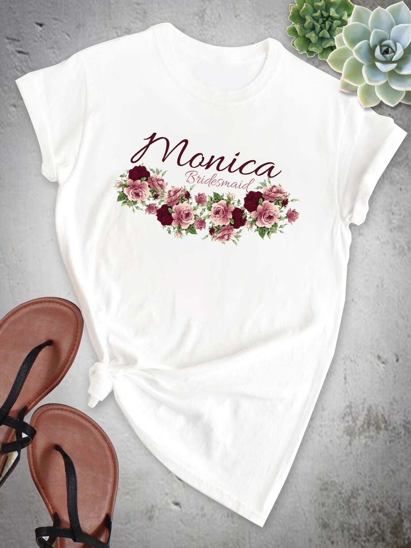 Personalized Roses Bridesmaid Tshirt