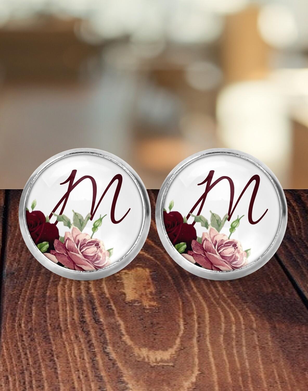 Personalized Burgundy Bridesmaid Earrings