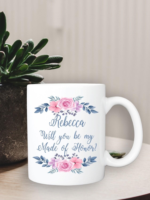 Personalized Pink Floral Bridesmaid Mug