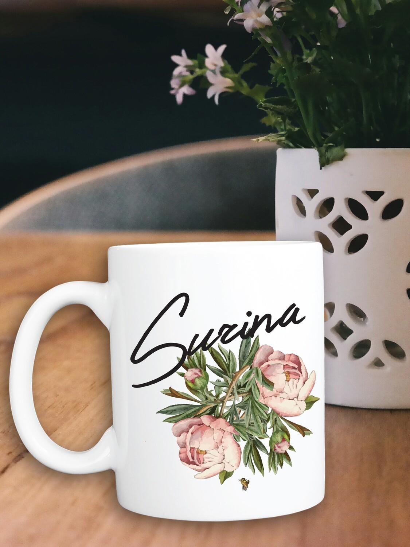Personalized Floral Bridesmaid Mug
