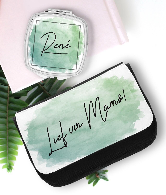 Personalized Watercolour Pocket Mirror & Cosmetics Bag