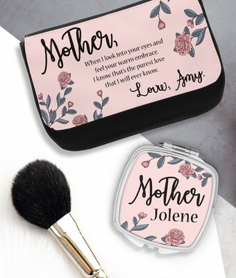 Personalized Pink Rose Mirror & Cosmetic Bag