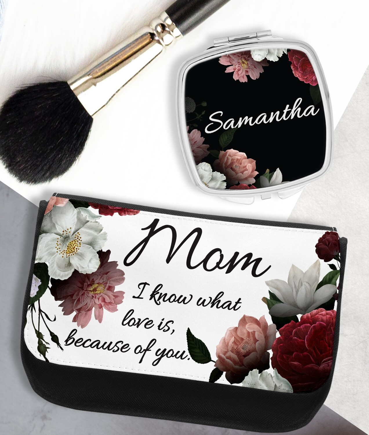 Personalized Floral Pocket Mirror & Cosmetics Bag