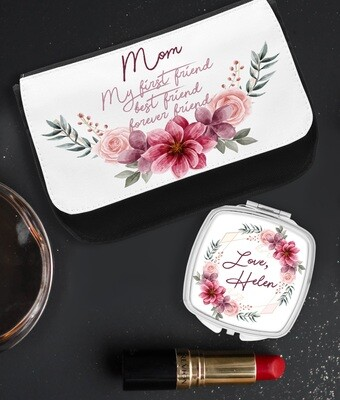 Personalized Wreath Pocket Mirror & Cosmetics Bag