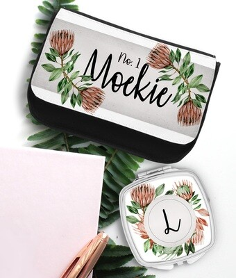 Personalized Protea Pocket Mirror & Cosmetics Bag